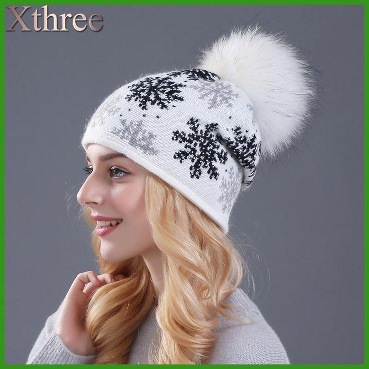 1c48a7964bb XTHREE real mink pom poms wool rabbit fur knitted hat Skullies winter hat  for women girls