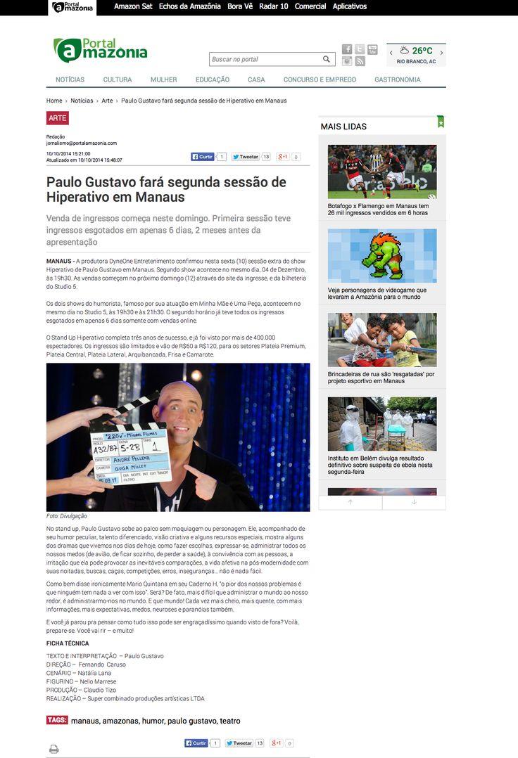 Paulo Gustavo fará segunda sessão de Hiperativo em Manaus