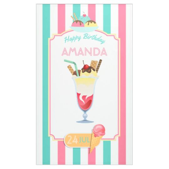 Ice Cream Birthday Party personalized Banner