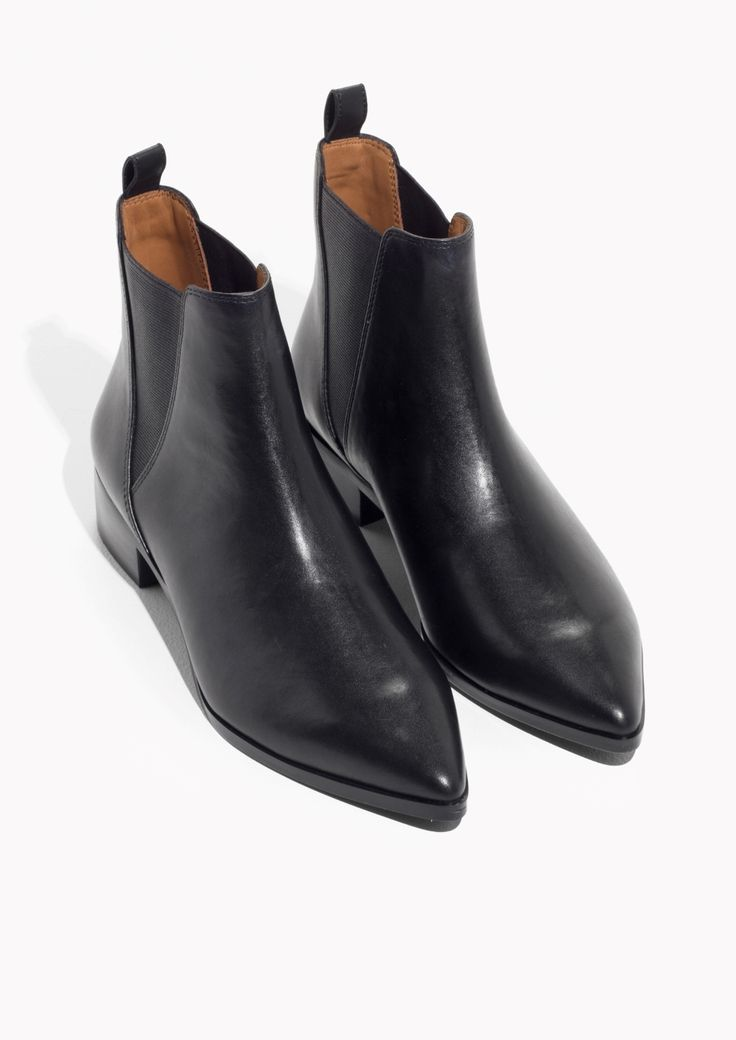 Other Stories image 2 of Leather Chelsea Boots in Black Leather