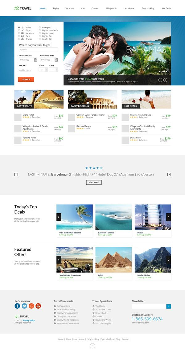 Travel Agency Responsive Hotel Online Booking Template on Behance