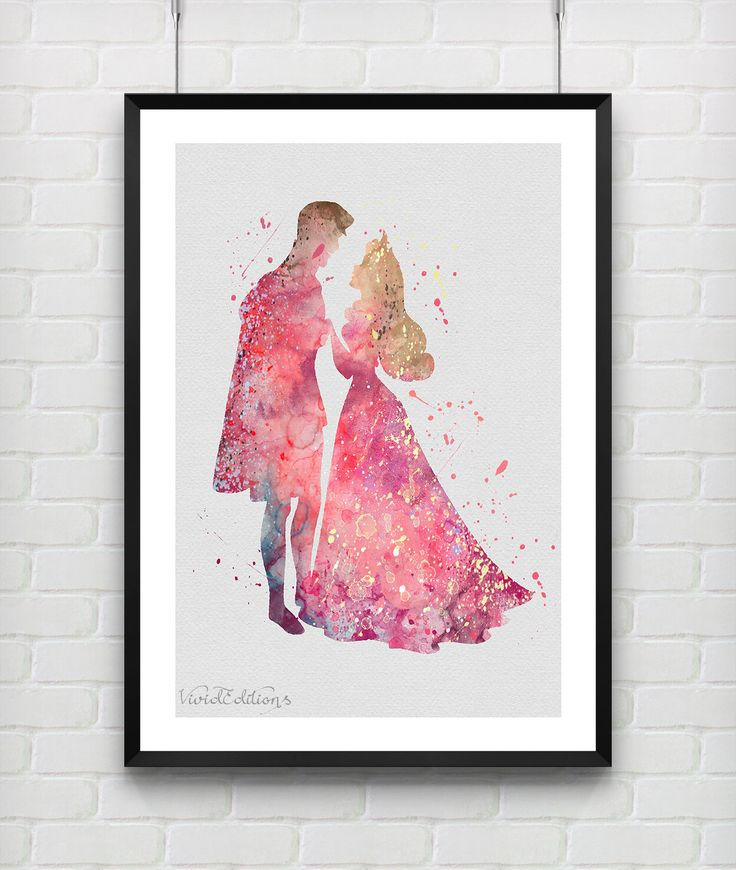 Princess Aurora & Prince Philip Sleeping Beauty Disney Watercolor Art Print, Baby Nursery Home Decor, Not Framed, Buy 2 Get 1 Free! [No. 77] by VIVIDEDITIONS on Etsy https://www.etsy.com/listing/217079843/princess-aurora-prince-philip-sleeping