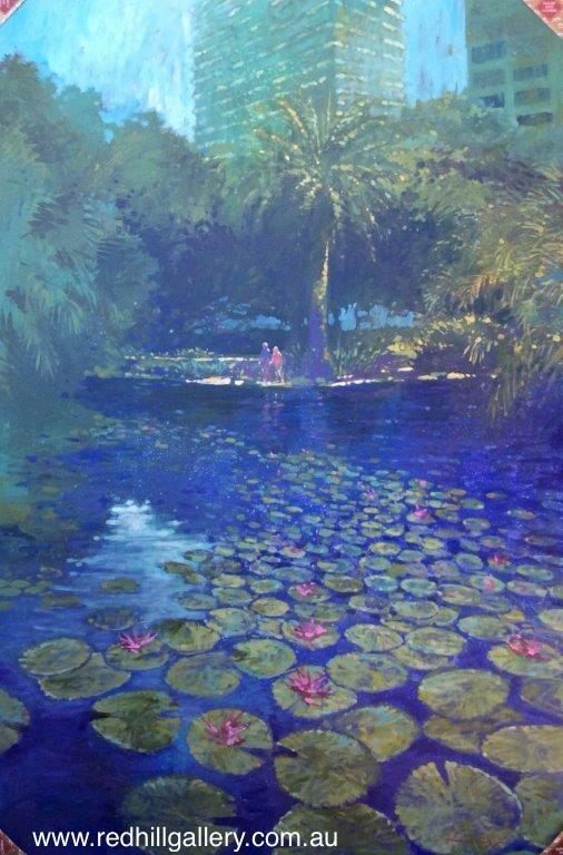 David Hinchliffe 'Reflections at City Botanic Gardens' 100x152cm. 61 Musgrave Road, Red Hill Brisbane, QLD, Australia. art@redhillgallery.com.au