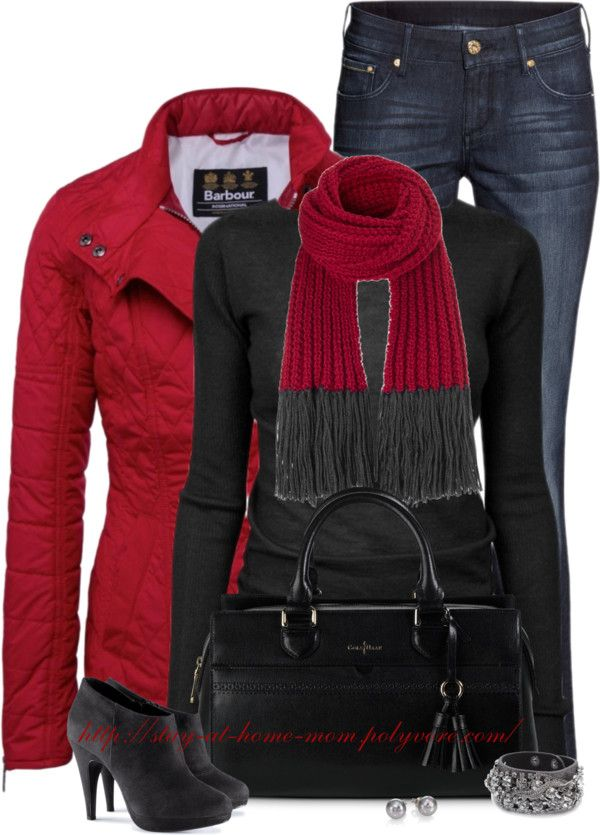 Hot Red Quilted Jacket Fall Winter Outfit Outfitspedia