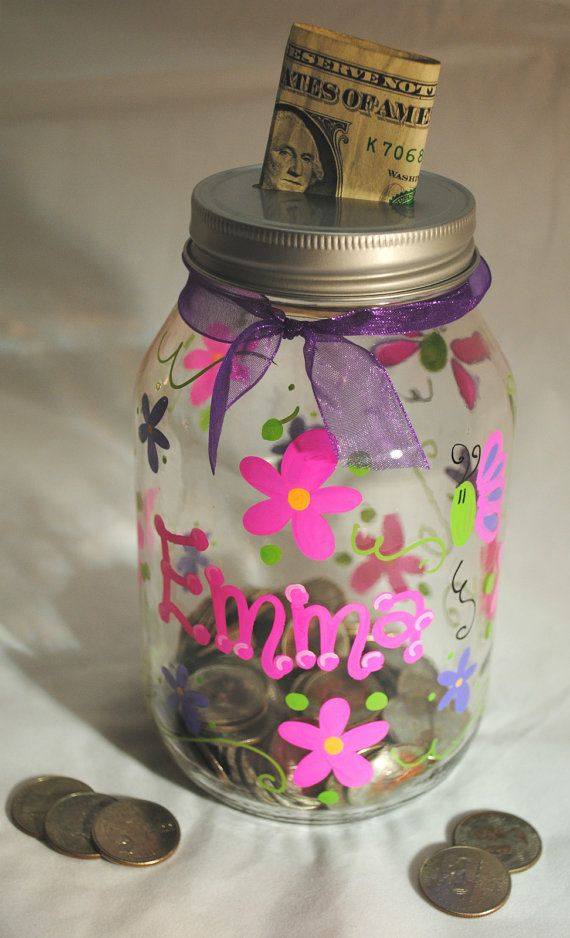 16oz. Mason Jar Bank Personalized with Name. Each bank comes with a slotted lid for deposits. Other designs available. Free Shipping