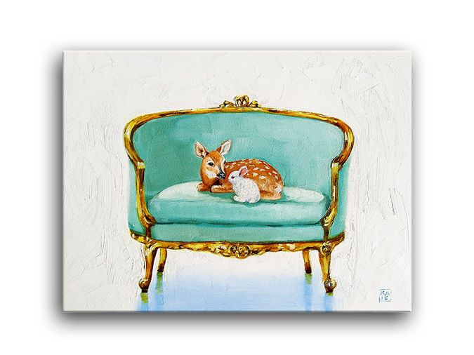 Deer Doe Fawn Baby Animals Bunny Rabbit, Loveseat Chair, Oil Painting,  Applegate