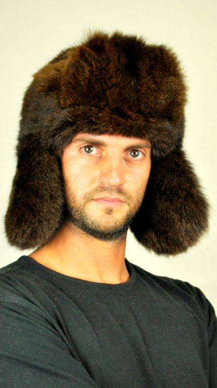 This extremely warm and soft fur hat fits men wishing to be trendy even in cold winter days. Natural brown possum fur hat  www.amifur.co.uk