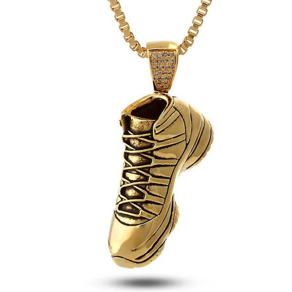 King Ice 14K Gold Air Sneaker Necklace (262.830 COP) ❤ liked on Polyvore featuring men's fashion, men's jewelry, men's necklaces and gold