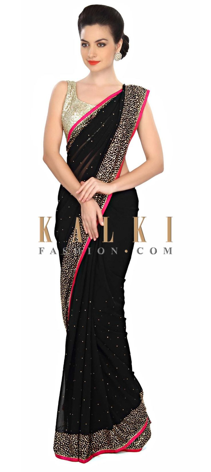 Buy Online from the link below. We ship worldwide (Free Shipping over US$100) Price- $99 Click Anywhere to Tag http://www.kalkifashion.com/black-saree-embellished-in-kundan-embroidery-only-on-kalki.html