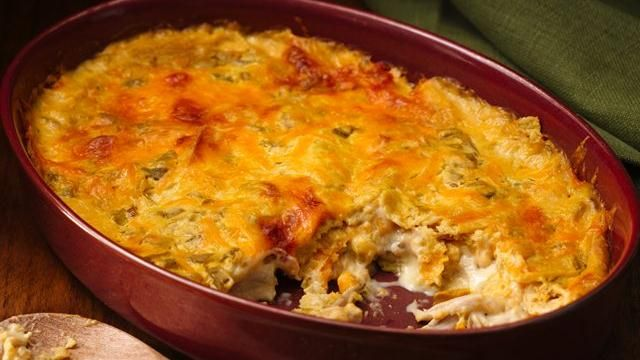 Easy Chicken and Cheese Chilaquiles . Chilaquiles is a simple Mexican casserole normally using deep-fried tortilla strips. No hot oil here, broken taco shells add just the right crispiness to this cheesy chicken dish with green chiles. ☀CQ #appetizers #recipes