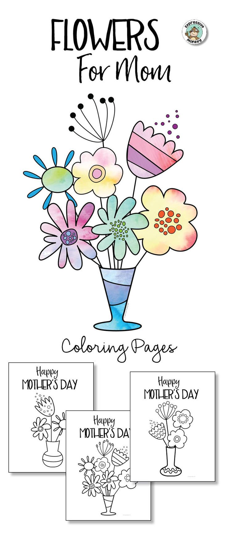 Flower coloring pages for the front of a Mother's Day card.