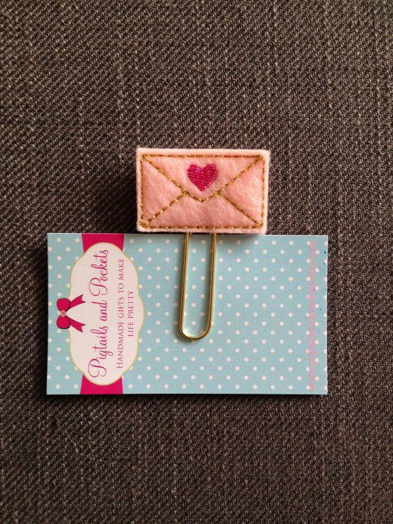 Felt Heart Pink/ Gold Envelope Paperclip by PigtailsandPockets