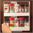Swivel Store. Stores 20 spices/pill bottles/crafts and takes up as much room as a box of cereal. I must have this.