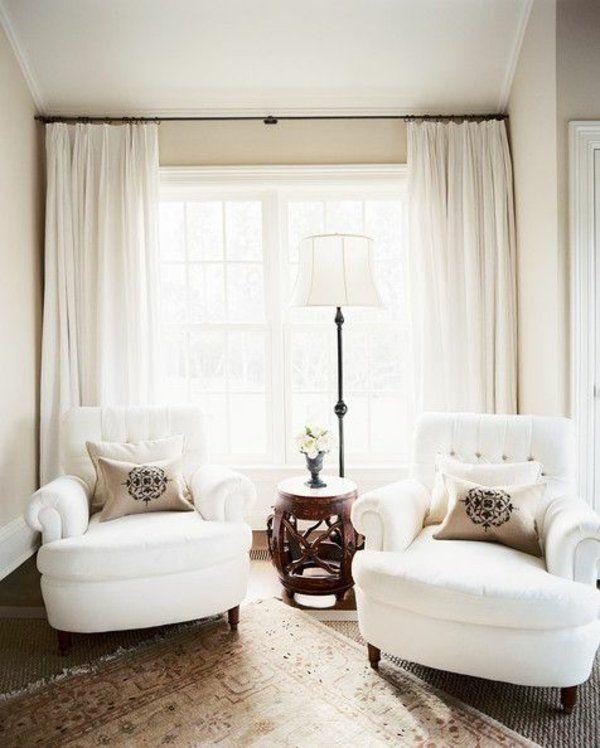 gemütlich raum Gardinenideen vorhänge fenster modern designe weiß
