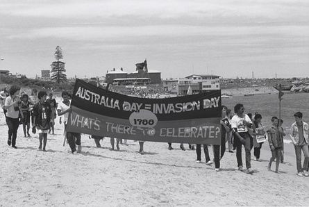 Protest march against first fleet re-enactment at La Perouse beach (January 1988) by Peter McKenzie
