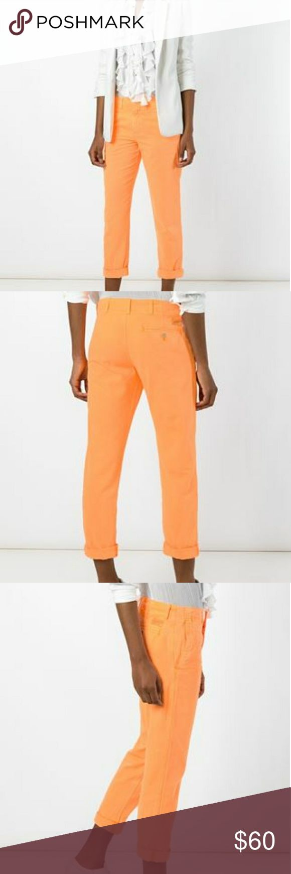 Polo Ralph Lauren Quinn Boyfriend Chinos Excellent pre-owned condition.  Washed orange cotton 'Quin' boyfriend jeans from Polo Ralph Lauren. Polo by Ralph Lauren Pants Trousers