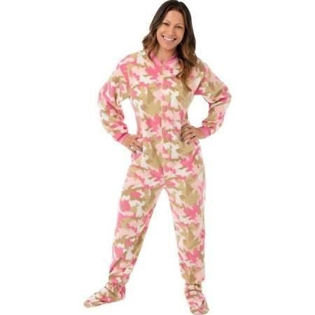 Big Feet Pajama Co. Women's Pink Camouflage Fleece Footed Pajamas With Drop Seat (Medium), Multi - Brought to you by Avarsha.com