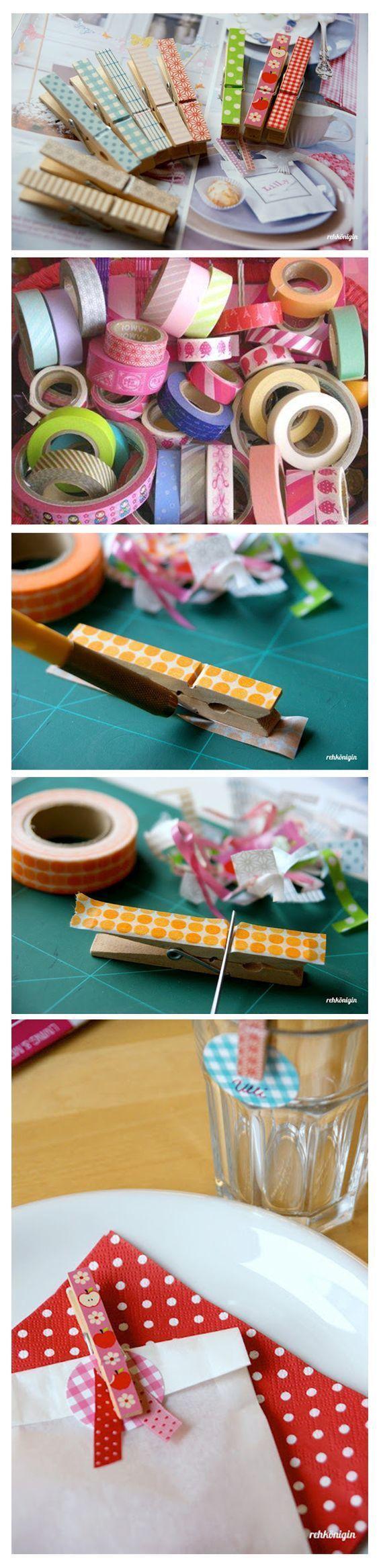 Pregadores de madeira + Washi tapes. Ótimo para usar com imã em Pegboards!