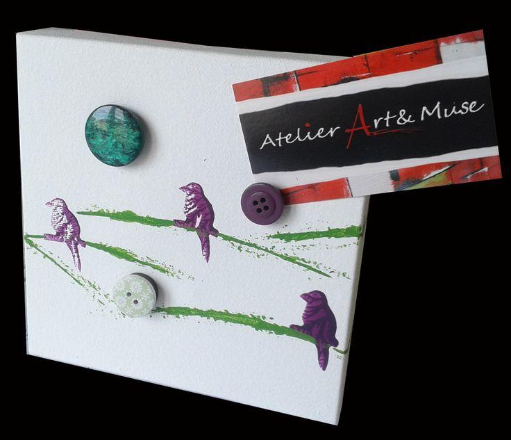 Toile aimantée, boutons aimantés,oiseaux, mauve , cadre, peinture abstraite, aimants, oeuvre unique, personnalisée, décoration de la boutique AtelierArtetmuse sur Etsy