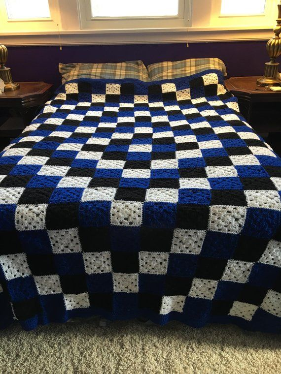 Queen Size Granny Square Crochet Blanket Blue And White Products