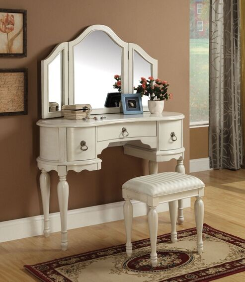 Trini 3 Pc Off White Finish Wood Make Up Dressing Table Vanity Set With  Stool And