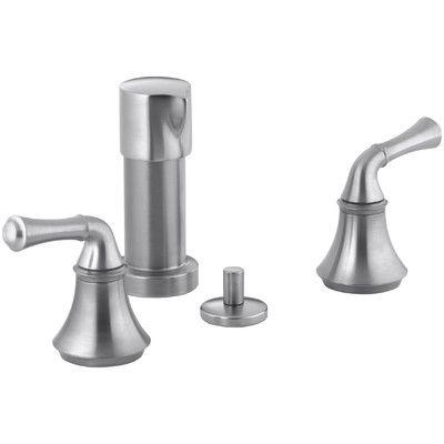 Kohler Forté Vertical Spray Bidet Faucet with Traditional Lever Handles Finish: Brushed Chrome