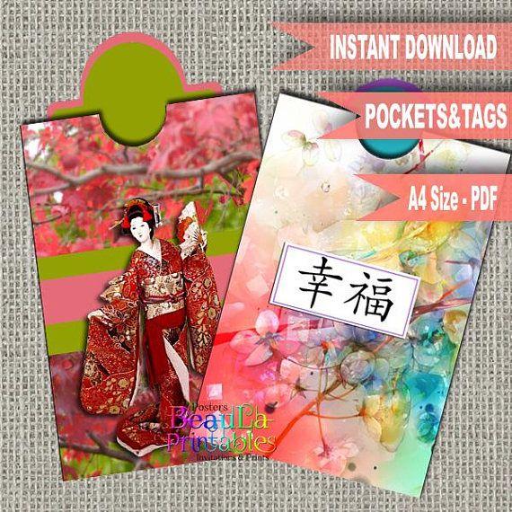 Printable Japanese Geisha Tags Oriental Pocket tag Japanese
