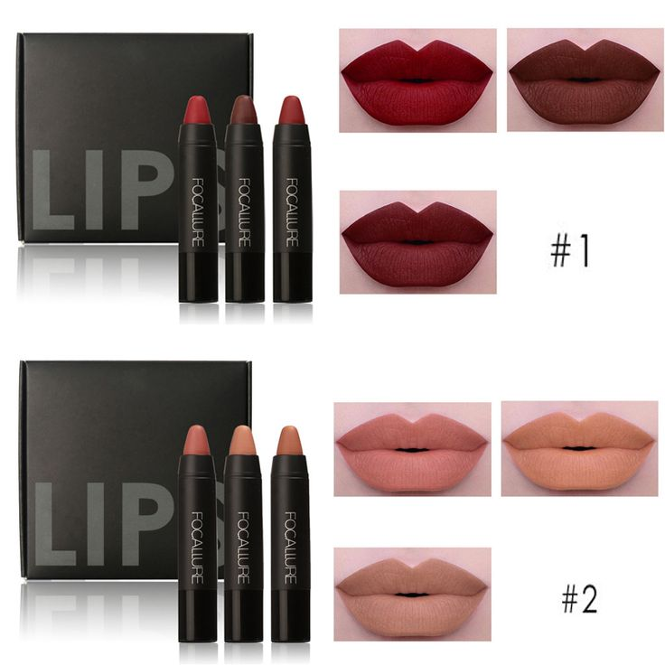 3 pcs Makeup Lips Crayon Pencils     Tag a friend who would love this!     FREE Shipping Worldwide     Get it here ---> https://www.greatdealbazar.com/product/3pcs-professional-makeup-lips-crayon-pencils-long-lasting-pigment-dark-color-nude-lot-matte-lipstick-set-focallure-makeup/