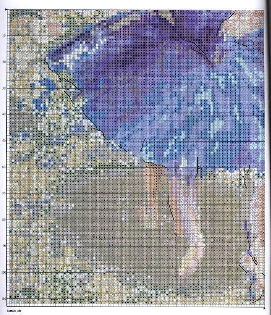 Quadro Bailarinas de Azul Bordadas em Ponto Cruz