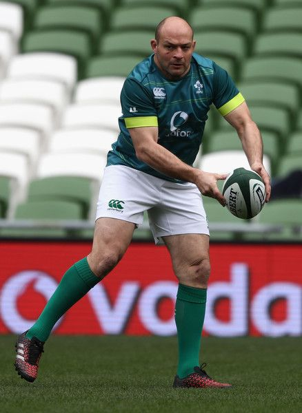 Rory Best Photos Photos - Rory Best, the Ireland captain, passes the ball during the Ireland captain's run at the Aviva Stadium on March 17, 2017 in Dublin, Ireland. - Ireland Captain's Run