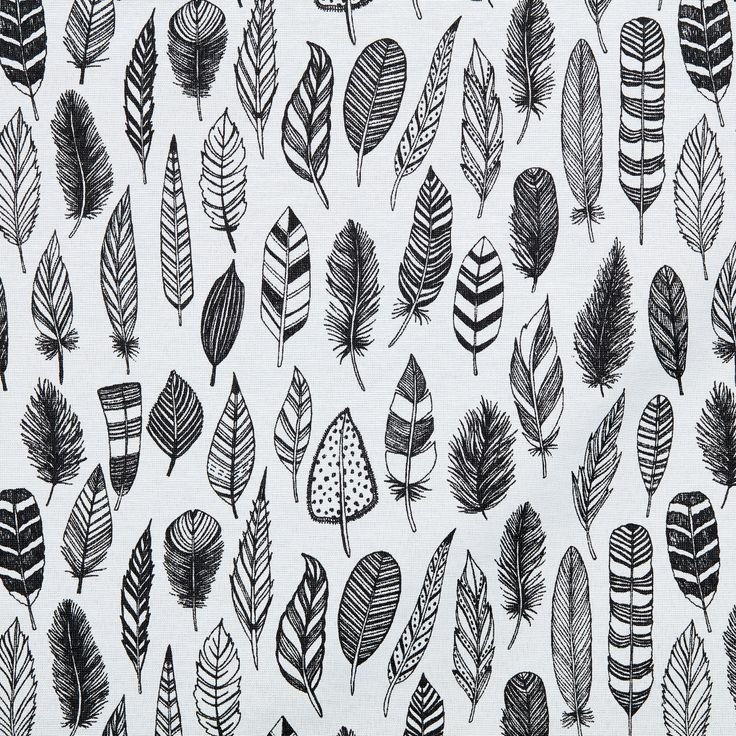 Stoere stof SYLVIA met print van veren. Kleur: zwart met wit. Geschikt voor het maken van gordijnen, tassen, kleding etc. #stof #zelfmaken #DIY #creatiefmetstof #kwantum #veren