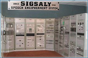 """SIGSALY was the first secure voice encryption system for telephones. It was invented and built by Bell Telephone Laboratories in 1943. It had several technological """"firsts"""" including pulse code modulation for speech transmission, multilevel frequency shift keying, and bandwidth compression."""