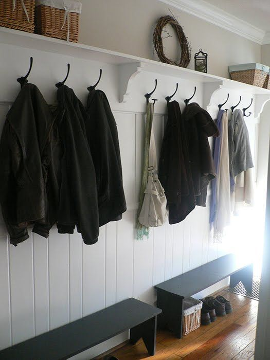 boot room - fabulous shelf and hooks. Easy and simple with benches below. Not much room for shoes & boots though.