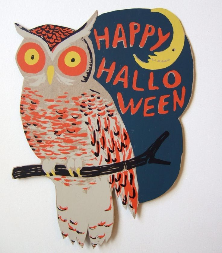 A colorful owl with retro charm. Love it!Halloween Stuff, Vintage Halloween, Colors Owls, Halloween Costumes, Costumes Halloween, Halloween Owls, Vintage Cards, Owls Decor, Happy Halloween