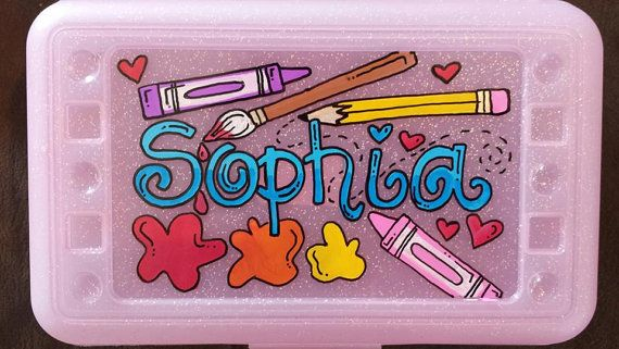 Custom Hand painted personalized pencil box by AChristianson, $9.50