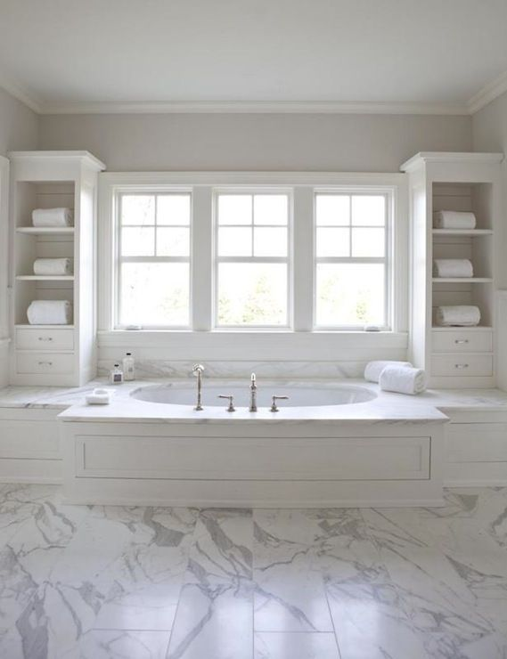 Small Drop In Tub Part - 34: Suzie: Milton Development - Master Bathroom With Wood Paneled Drop-tub  Flanked By Cabinets