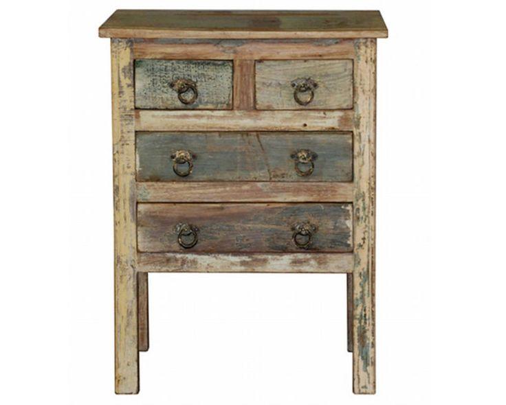 Vintage Nightstand 4 drawer reclaimed wood multi color