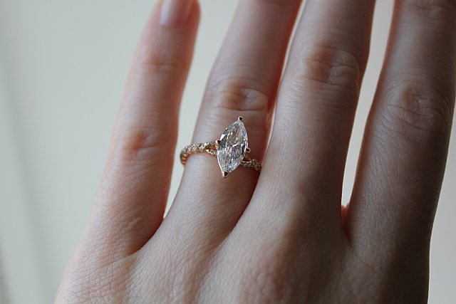 A custom-made Danhov marquis-shaped diamond engagement ring, created specially for a customer at Greenwich Jewelers  Of course, she said yes!Jewelry, Engagement Ring
