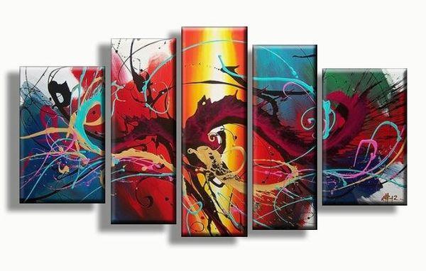Abstract 5luik schilderij met vrolijke kleuren