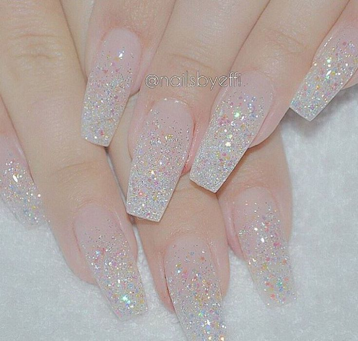 25 best ideas about clear glitter nails on pinterest