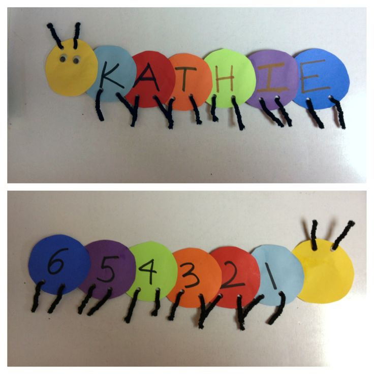 Preschool craft Spelling Names with Alphabet and number caterpillars
