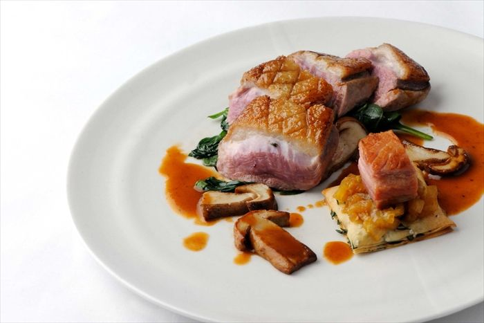 Duck with pork belly and ceps
