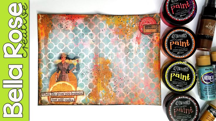 Paper Napkin + Dylusions Paint + Modeling Paste - Mixed Media Art Journal