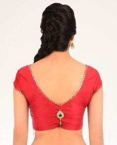 elegant orange emblishment saree blouse