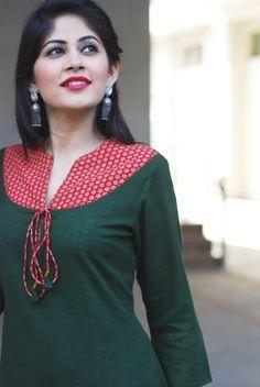 #cotton #kurta #tie-up #deepgreen