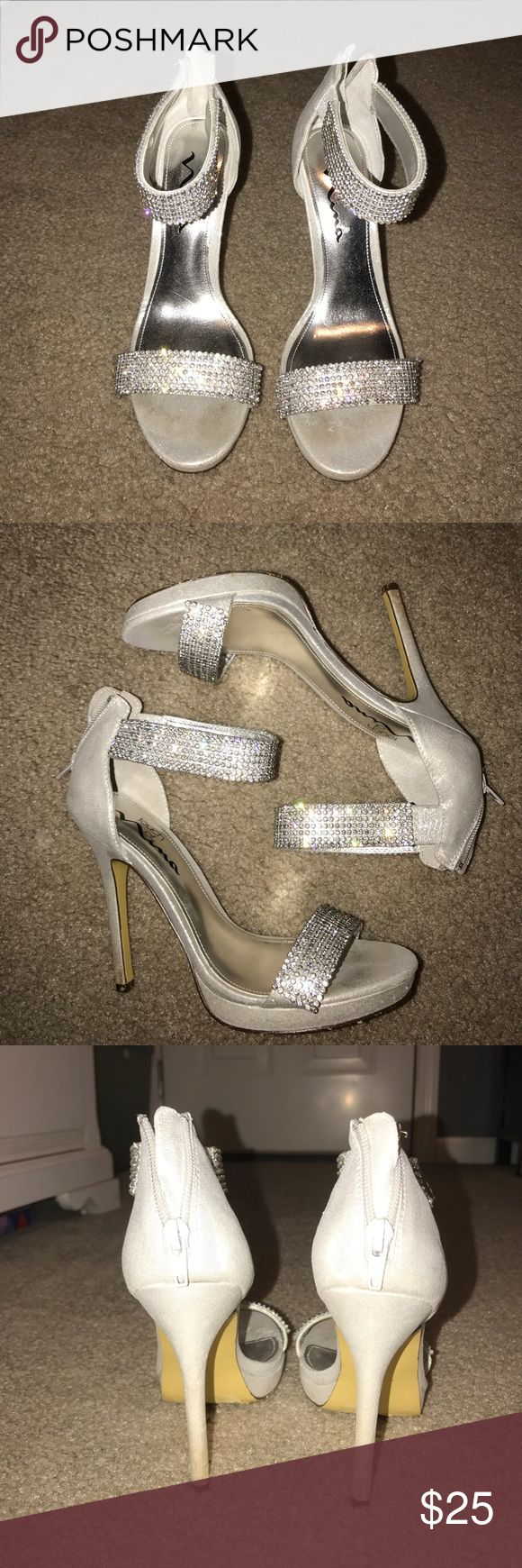 Prom heels Wore once for prom!! They are light silver, almost white, with the two bands! They are 6.5 but Fit like a 7. Not actually from Madden got at DSW Steve Madden Shoes Heels