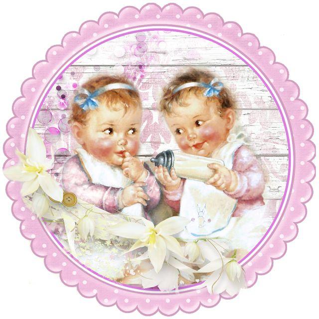 Детская открытка двойняшки
