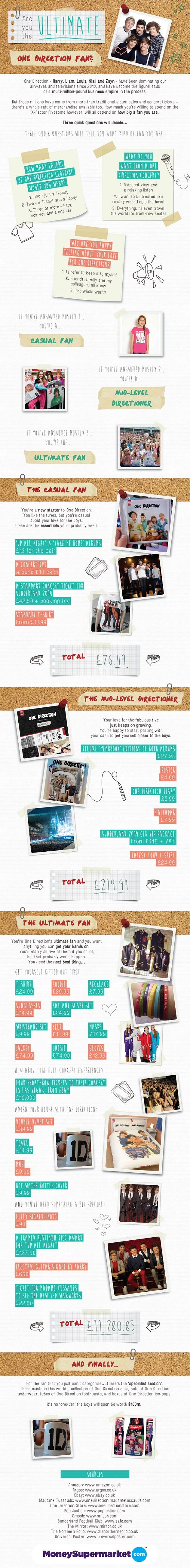 #INFOgraphic > 1 Direction Fan Cost: Die hard fan of One Direction? How deep in your parents pocket would you go to get the bands merchandise, buy concert tickets and be crowned as the ulitmate 1D fan? This infographic will tell you what kind of fan you are.  > http://infographicsmania.com/1-direction-fan-cost/
