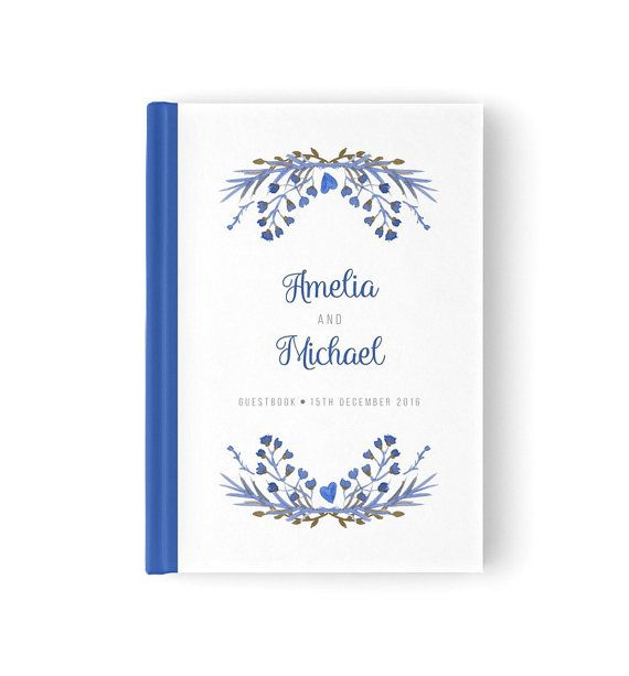 Royal blue wedding guestbook. Watercolour by PaperBoundLove