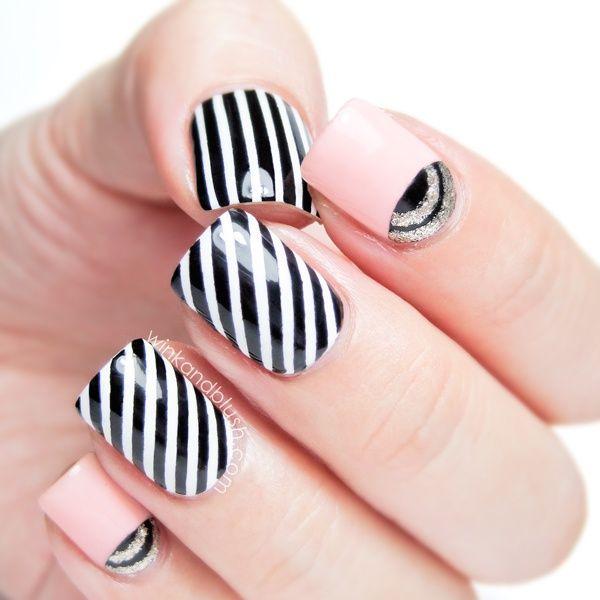 Classic Black and White Striped Nail Art #prom Fabulous Striped Nail Art Ideas
